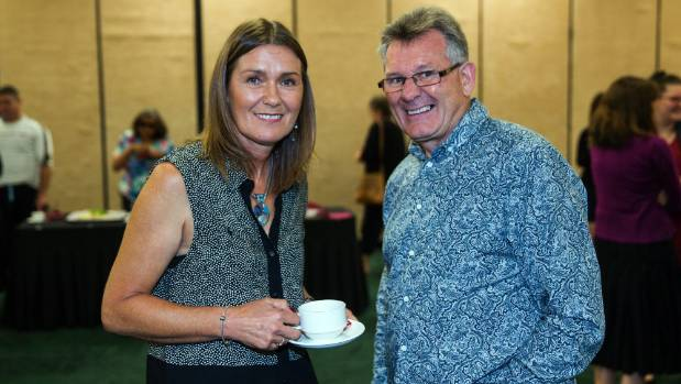 Louise Nicholas, left, and Ken Clearwater in Palmerston North for a seminar on sexual violence.