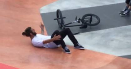 BMX rider Karl Periam alleges he was charged by an angry parent at the opening of the New Windsor skate park