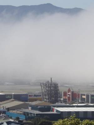 Sea fog rolled into Wellington Airport mid-morning on Tuesday.