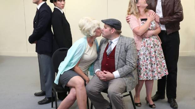 The cast of One Man Two Guvnors which is beign performed at the Theatre Royal.