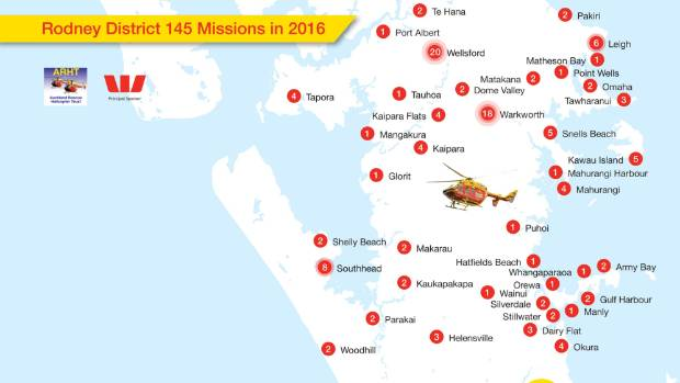 The Auckland Westpac rescue helicopter made 145 missions to the Rodney area alone in 2016.