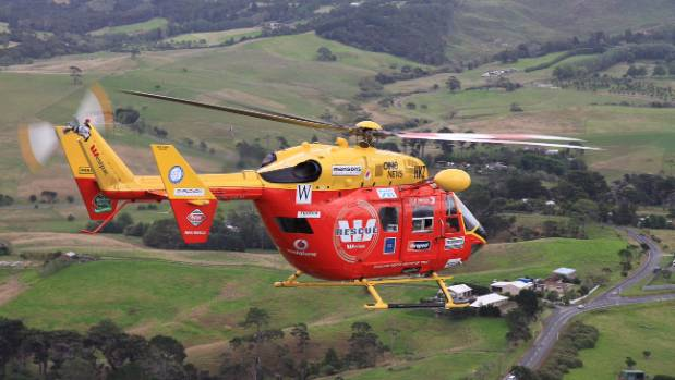 The Auckland Westpac Rescue Helicopter flew the woman to hospital.