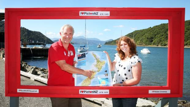 Picton and Marlborough Sounds Tourism Group members John Reuhman, left, and Helen Neighbour-Cone think a weather station ...