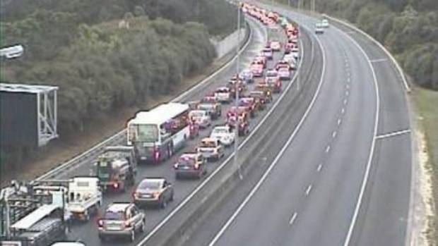 The New Zealand Transport Agency's traffic cameras showed North Shore-bound traffic was crawling on the Upper Harbour ...