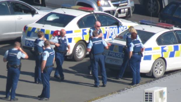 Police at Port Otago on Wednesday, March 1.