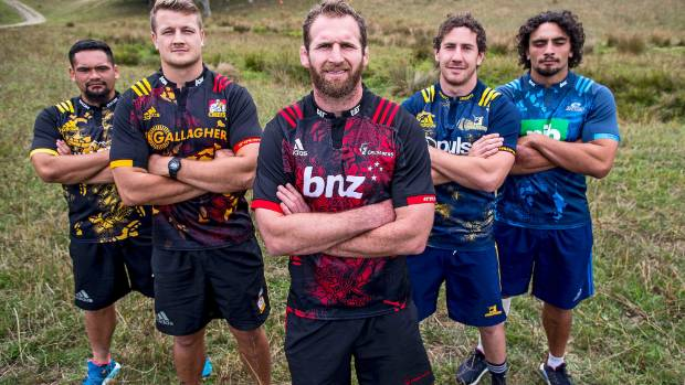 Players from the five New Zealand Super Rugby teams gather at the launch of the new Lions tour inspired rugby jerseys.