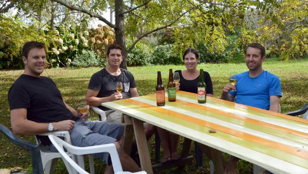 The Zeffer cider team: Josh Townsend, left, Sam Whitmore, Hannah Bower, and Greg Small.