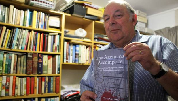 Papakura Historical Society president Terry Carson with his new book, The Axeman's Accomplice.