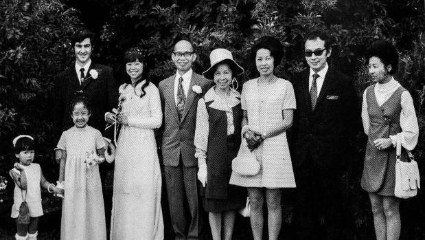 The wedding day of Helene Wong and Colin Knox, February 1972, with Helene's parents, nieces and sisters Jean and Marina.