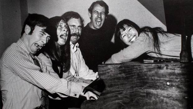 The cast of One in Five at Victoria University Memorial Theatre, 1971. From left: Dave Smith, Cathy Downes, John Clarke, ...