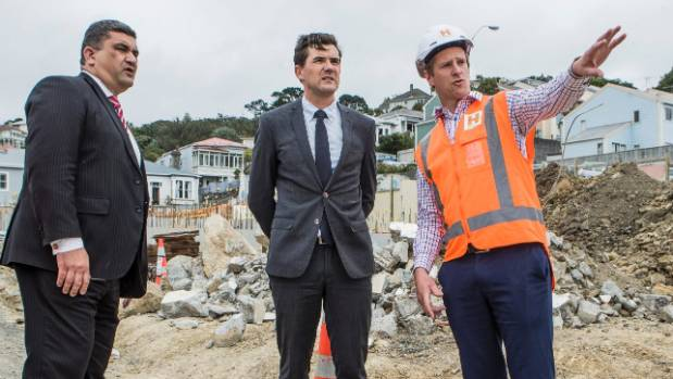 Wellington Mayor Justin Lester, centre, with deputy Paul Eagle, left, announced in February that the city would build ...