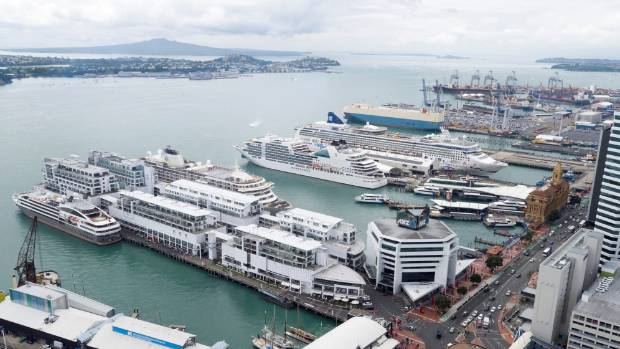 Four cruise ships arrive simultaneously in Auckland, a record for the port in one day. From left front: L'Austral, The ...