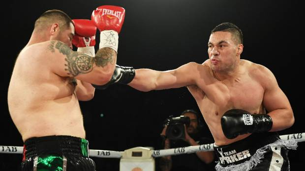 Joseph Parker on the attack against Andy Ruiz on his way to winning the WBO belt.