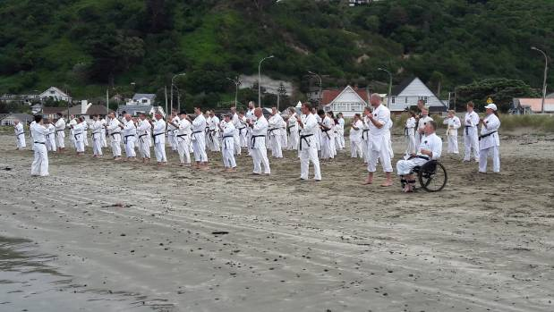 The final training session on Lyall Bay Beach involved warm ups, basic blocks, punches and kicks, followed by sparring ...