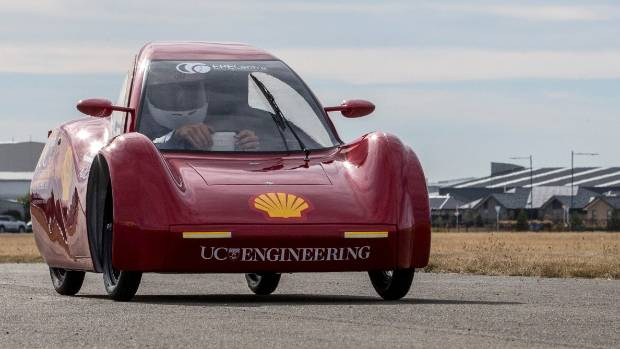 Canterbury University's fully recyclable electric eco-car runs down the Wigram tarmac during final testing.