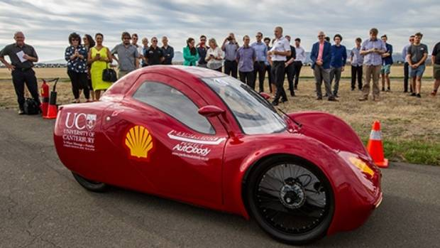 The Canterbury University's eco-marathon entry undergoes final testing in Christchurch ahead of the event in Singapore.
