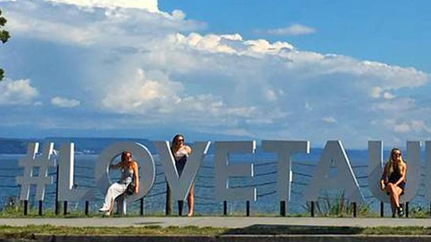 The new #LOVETAUPO sign put up by Destination Great Lake Taupo.