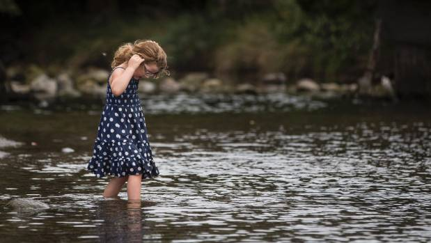 Isla Edmond, 4, at the Purau Stream in Canterbury - another smaller waterway not covered by the policy.