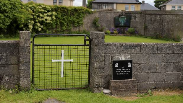 The entrance to the site of a mass grave of hundreds of children who died in the former Bons Secours home for unmarried ...