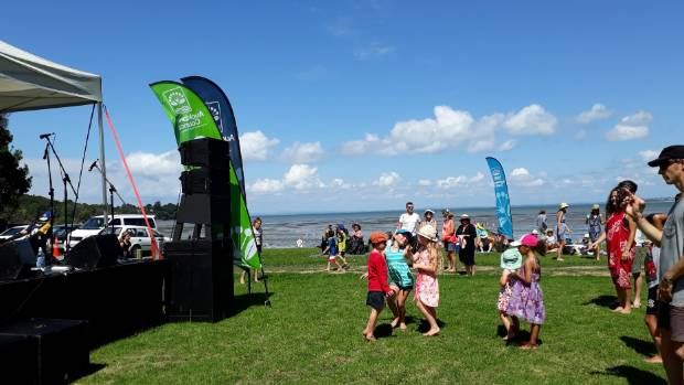 People danced barefoot at Auckland Council's Music in Parks at Armour Bay in west Auckland.