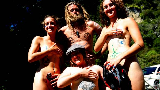 Nude travellers. From left; Camilla Howe from England; Kevin Thiever from Germany; Casey Reagan from California and ...