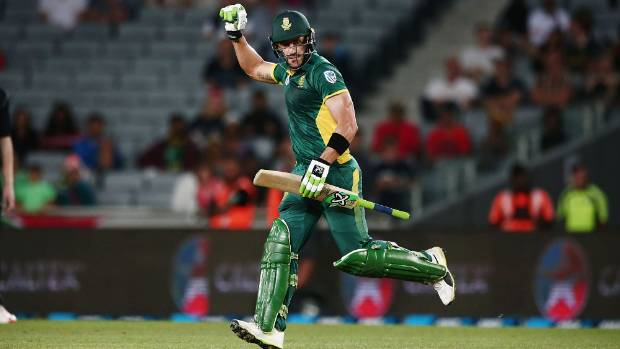 Faf du Plessis pumps his fist after hitting the winning runs for South Africa in the series-deciding fifth ODI against ...