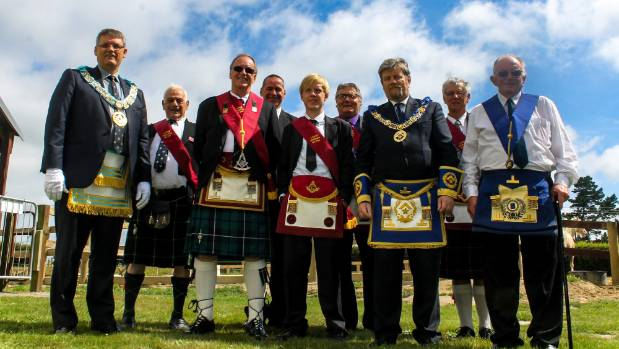 Members of Lodge Hinemoa Freemasons in full regalia as part of their 125th anniversary celebrations.