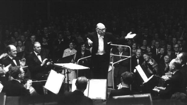 Igor Stravinsky celebrates his performance with the NZSO in Wellington in 1961.