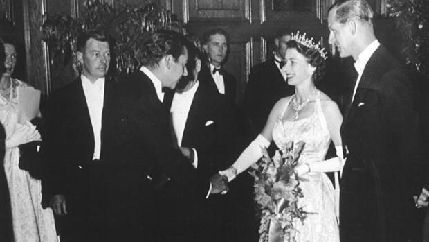 Richard Farrell is presented to The Queen at the NZSO's first Royal Performance in Dunedin in 1954.
