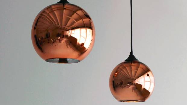 Pair green velvet with copper accents. Copper glass globe pendant lights $139.99 from Alex & Corban, alexandcorban.co.nz.