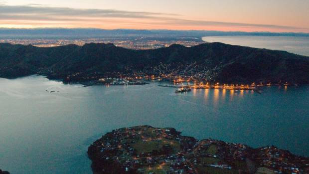 Lyttelton Port at dusk. The port company wants to deepen and widen its shipping channel.