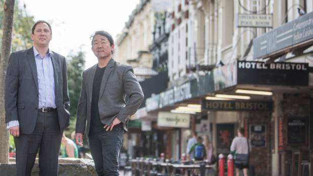 Miyamoto with New Zealand colleague David Weir in Cuba St, Wellington, which they believe is one of the country's most ...