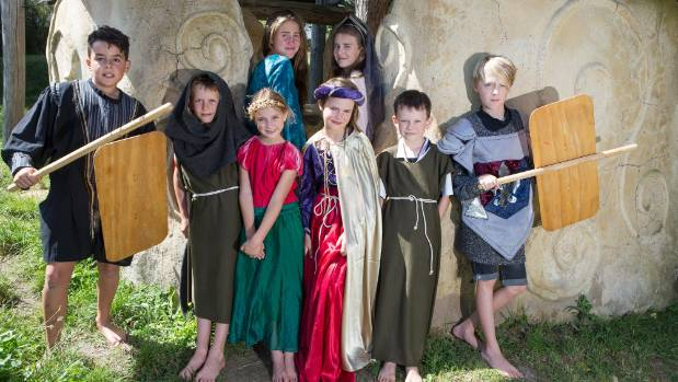 Children aged between 7-13 from the Waikato Waldorf School, dress up in costume ready for the Medieval Carnival at the ...