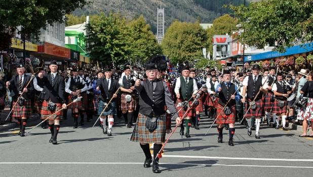 Pipers march down Trafalgar St during the last Celtic Pipe Band National Championships to be held in Nelson in 2015.