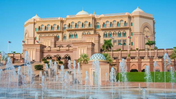 Fountains in front of the Emirates Palace in Abu Dhabi, United Arab Emirates.