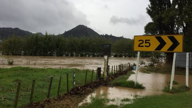 Maramarahi Rd in Totara, near Thames, is closed due to flooding on Wednesday morning