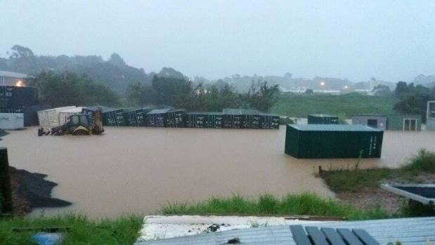 The former Timberworld on Tahi Rd was left underwater after a night of torrential rain brought down a month's worth of ...