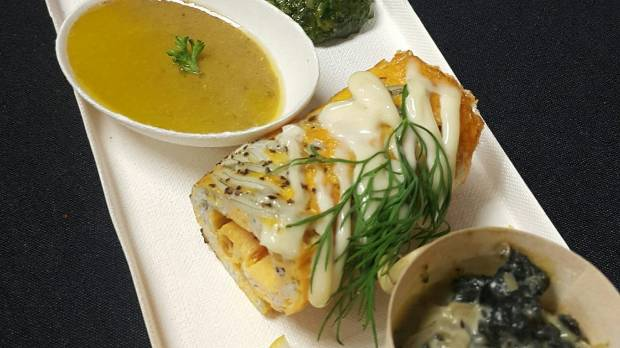 Karaka Cafe's Wellington Wine and Food + Craft Beer Festival Kaimoana plate: whitebait fritter, creamed paua, titi ...