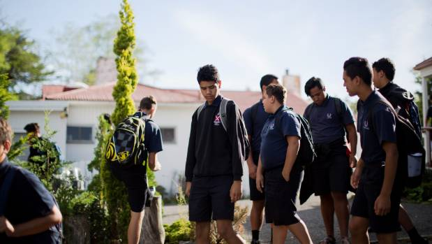 Students of Te Aute College, near Hastings, in their familiar blue uniform.