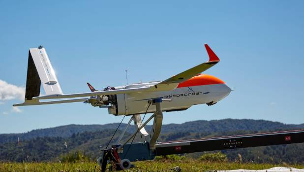 A Textron Systems Australia Aerosonde fixed wing drone is set for launch.