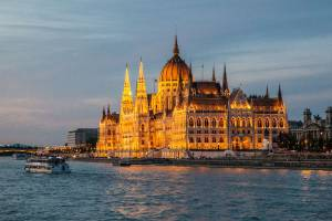 The House of Parliament, fronting the Danube River in Budapest, Hungary, seems every bit the fairy castle when seen at ...