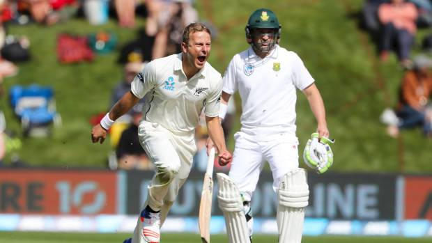 Two wickets in five balls by Neil Wagner rocked South Africa early on day one of the first test, before they fought back.