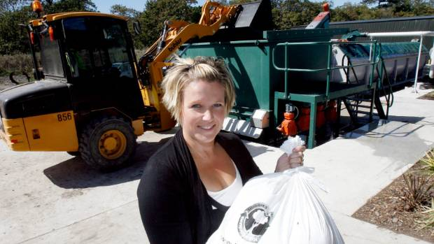 Karen Ashby CEO of Envirocomp with the old nappy recycling machine. Ashby said the non-compostable plastic bags were ...
