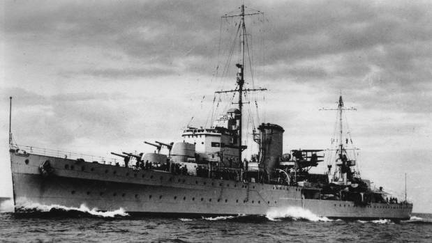 The New Zealand warship, HMS Achilles underway before it created naval history in the Battle of the River Plate which ...