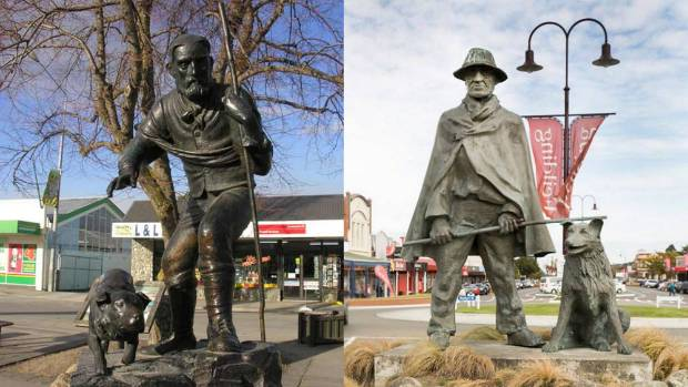 One man and his dog, times two: James Mackenzie and Friday in downtown Fairlie; an unnamed drover and his unnamed dog in ...