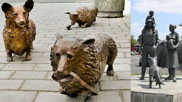 Christchurch's three bronze Corgi dogs getting up to mischief. Right, a dog is part of Hamilton's Farming Family sculpture.