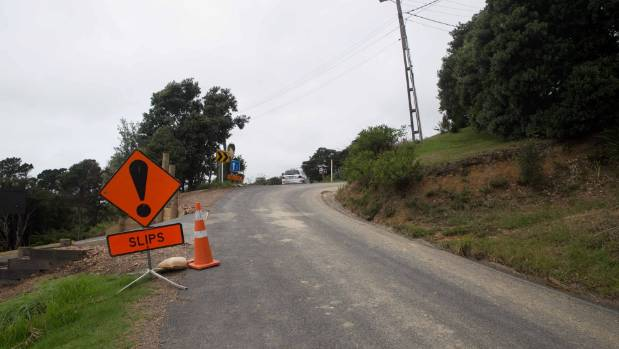 A slip on Trig Hill Road, Onetangi.