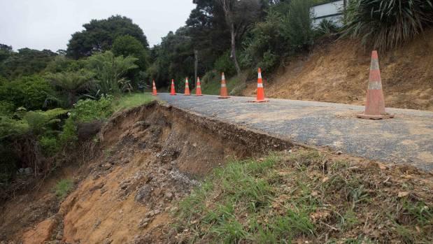 A slip below a road in Onetangi after flooding on Waiheke.