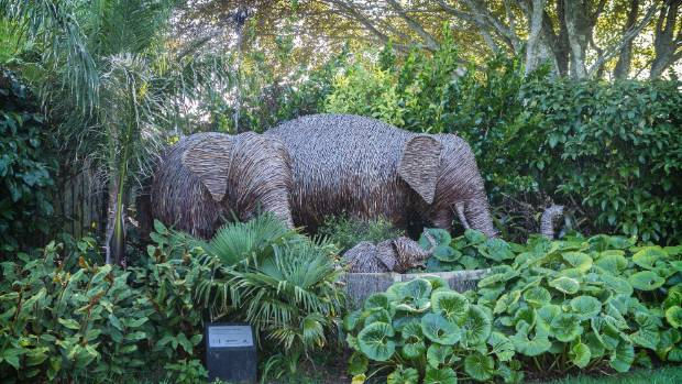 These willow cane elephants add to the tropical feel of the zoo.