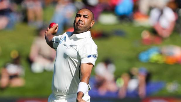 Offspinner Jeetan Patel snared his first wicket, of South Africa's Quinton de Kock.